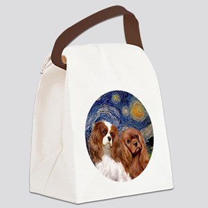 J-ORN-Starry-Two Cavaliers-BL+R Canvas Lunch Bag