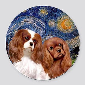 J-ORN-Starry-Two Cavaliers-BL+R Round Car Magnet