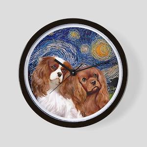 J-ORN-Starry-Two Cavaliers-BL+R Wall Clock