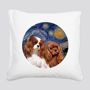 J-ORN-Starry-Two Cavaliers-BL Square Canvas Pillow