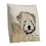 Wheaten Terrier Puppy Burlap Throw Pillow