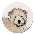 Wheaten Terrier Puppy Round Car Magnet