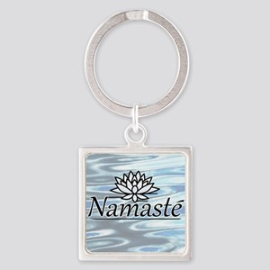 NamasteLotusFocal-waterBG Square Keychain