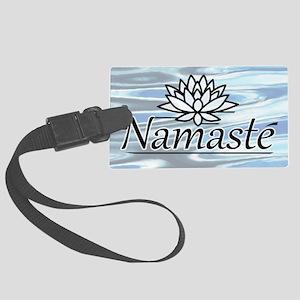 NamasteLotusFocal-waterBG-lowere Large Luggage Tag