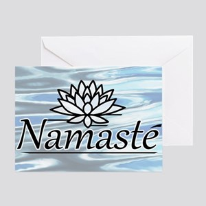 NamasteLotusFocal-waterBG-lowered Greeting Card