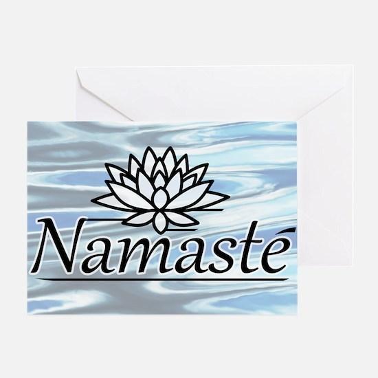 NamasteLotusFocal-waterBG-lowered Greeting Card
