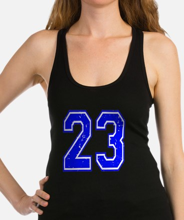 23 Blue Distressed Racerback Tank Top