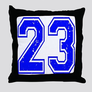 23 Blue Distressed Throw Pillow