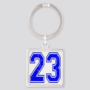 23 Blue Distressed Square Keychain