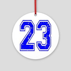 23 Blue Distressed Round Ornament
