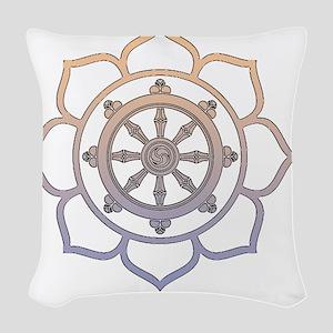 DharmaWheelLotusFlower Woven Throw Pillow