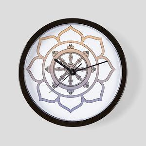 DharmaWheelLotusFlower Wall Clock