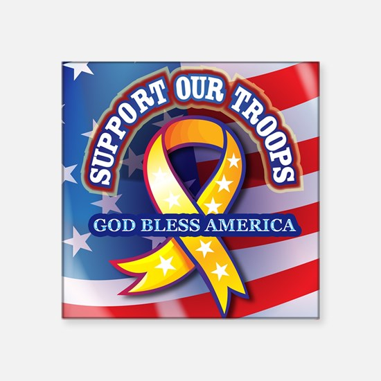 """Support-Our-Troops Square Sticker 3"""" x 3"""""""