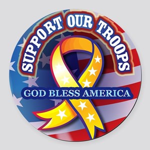 Support-Our-Troops Round Car Magnet