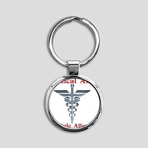 Multipe Allergies Medical Alert Round Keychain