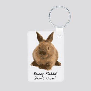 Bunny Rabbit Dont Care! Aluminum Photo Keychain
