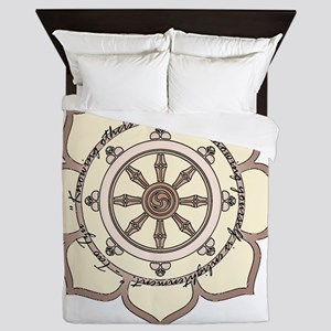 DharmaWheelLotusFlower-Quote Queen Duvet