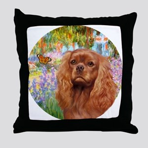 J-ORN-Garden-RubyCavalier2 Throw Pillow