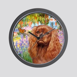J-ORN-Garden-RubyCavalier2 Wall Clock