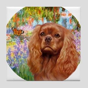 J-ORN-Garden-RubyCavalier2 Tile Coaster