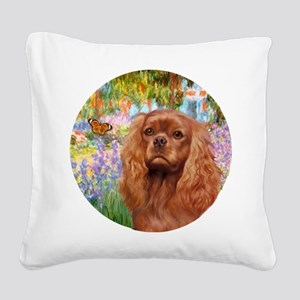 J-ORN-Garden-RubyCavalier2 Square Canvas Pillow