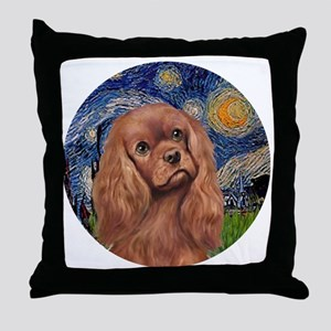 J-ORN-StarryNight-RubyCavalier Throw Pillow