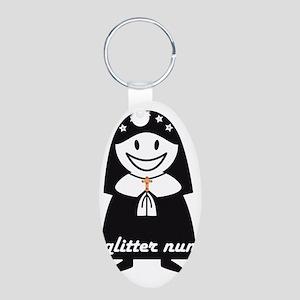 Glitter Nun Aluminum Oval Keychain