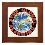 Stop Global Alarming Framed Tile