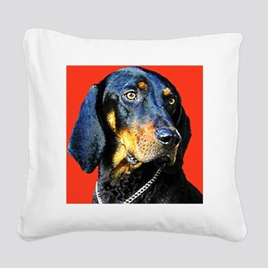Black and Tan Coonhound Square Canvas Pillow