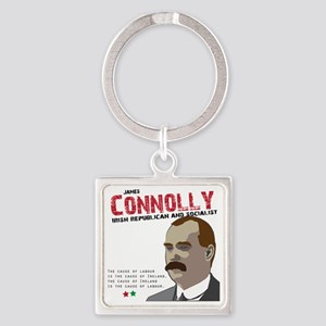 James Connolly quote on White Square Keychain