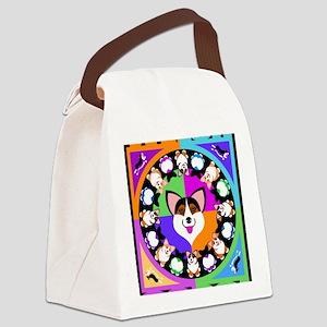Corgis for blk T Canvas Lunch Bag