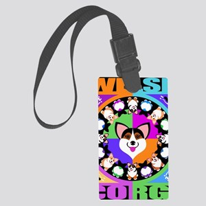 Corgis for blk T Large Luggage Tag