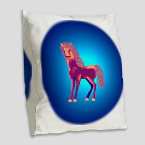 Red horse Burlap Throw Pillow
