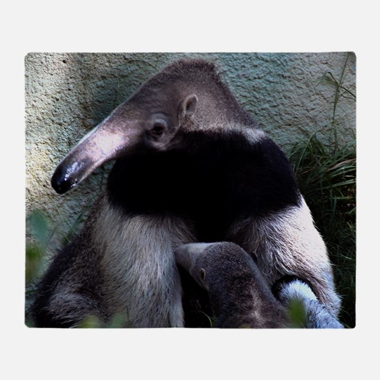 Mother Anteater nursing her young Throw Blanket