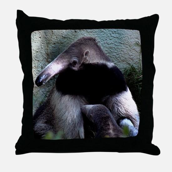 Mother Anteater nursing her young Throw Pillow