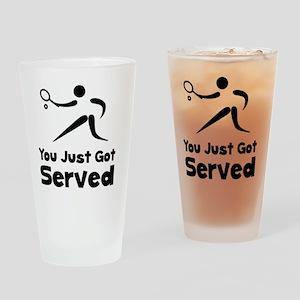Tennis Served Black Drinking Glass