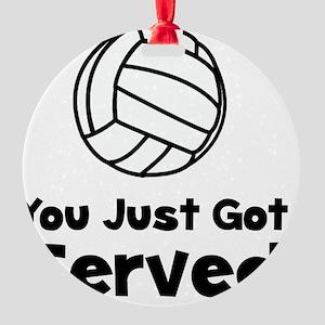 Volleyball Served Black Round Ornament