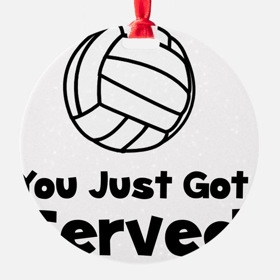 Volleyball Served Black Round Ornament