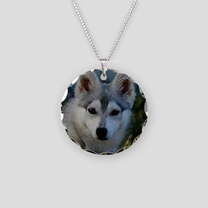 Alaskan Klee Kai Puppy Portr Necklace Circle Charm