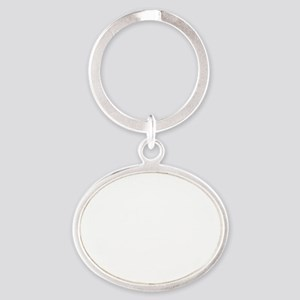 Ph.D. B.S. - white Oval Keychain