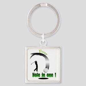 Four Hole in one Golf Square Keychain