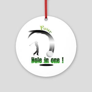 Four Hole in one Golf Dark Round Ornament