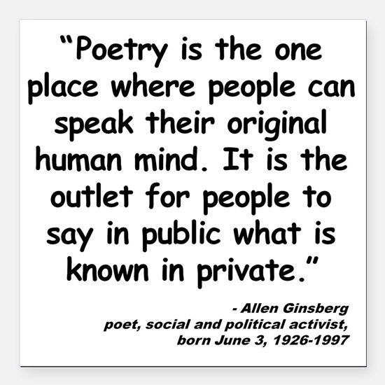 """Ginsberg People Quote Square Car Magnet 3"""" x 3"""""""