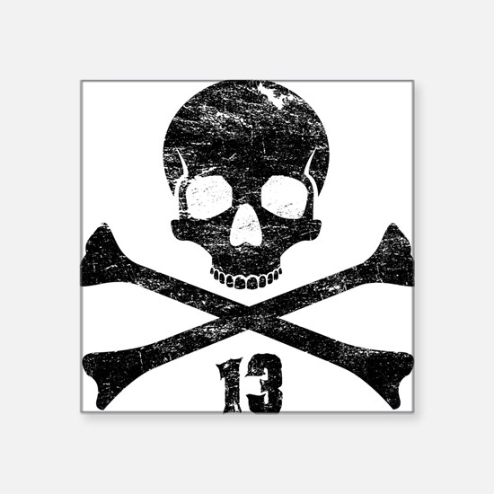 "crossbones distressed black Square Sticker 3"" x 3"""