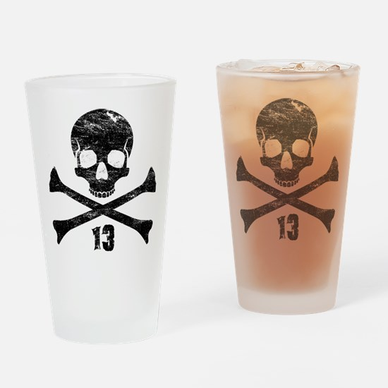 crossbones distressed black Drinking Glass