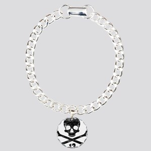 crossbones distressed bl Charm Bracelet, One Charm