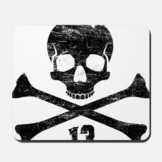 crossbones distressed black Mousepad