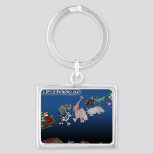 8577_christmas_cartoon_wide Landscape Keychain