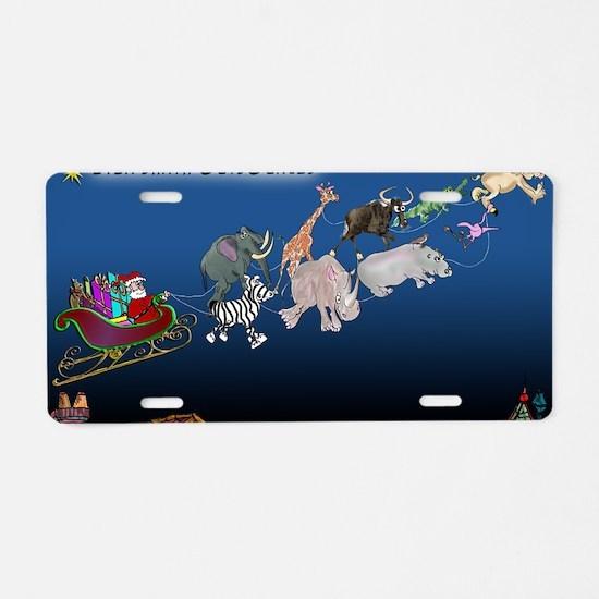 8577_christmas_cartoon_wide Aluminum License Plate