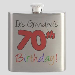 Its Grandpas 70th Birthday Flask